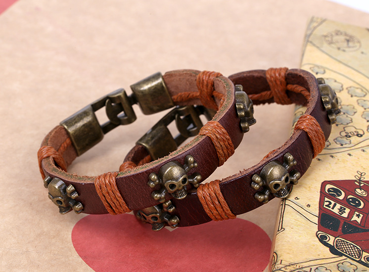 Leather Vintage Geometric bracelet(Female models) NHPK1930-Female models