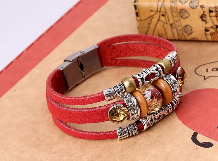 Leather Korea Geometric bracelet  (red) NHPK1596-red