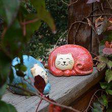 批发陶瓷礼品工艺品 花园庭院*家居装饰 五彩小猫咪摆件 A-074
