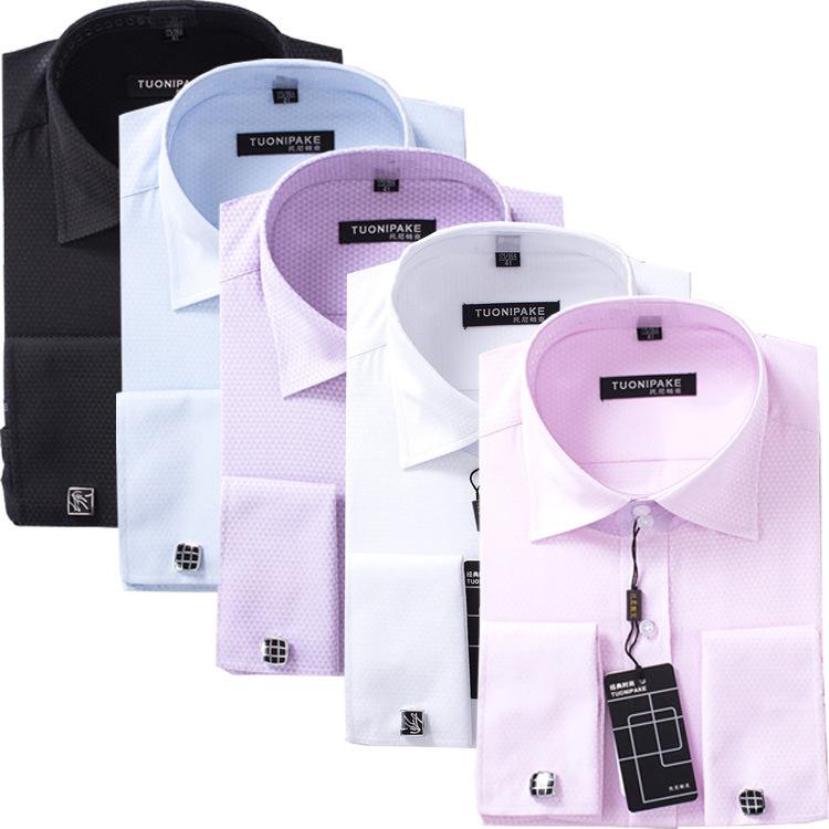 上海钲兴定做法式袖口衬衫  量身定做品牌男式正装免?#22363;?#34966;衬衫