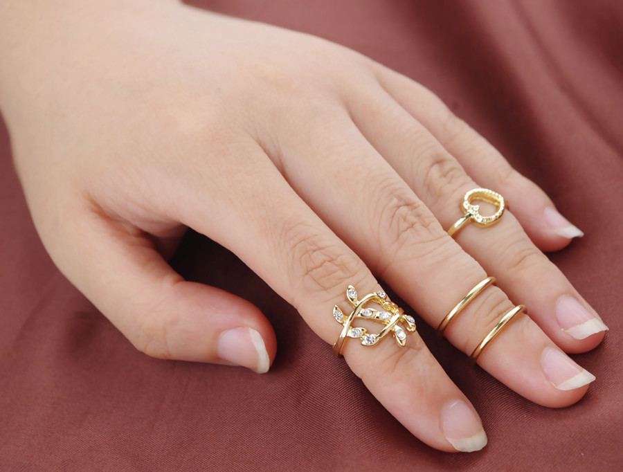 Midi Rings Fashion Diamond Heart-Shaped Leaves Circle 4 Piece ...