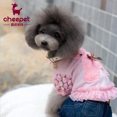 外贸宠物衣服春夏款批发 心爱日韩风玫瑰绒刺绣小熊纯棉宠物T恤