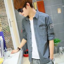 春秋男式衬衫青春流行韩版修身长袖牛仔衬衫男 品牌男装衬衣批发