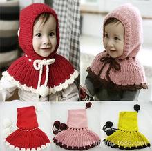 新款秋冬女宝宝毛线围脖披肩婴儿童连体帽子保暖披风韩国球球斗篷