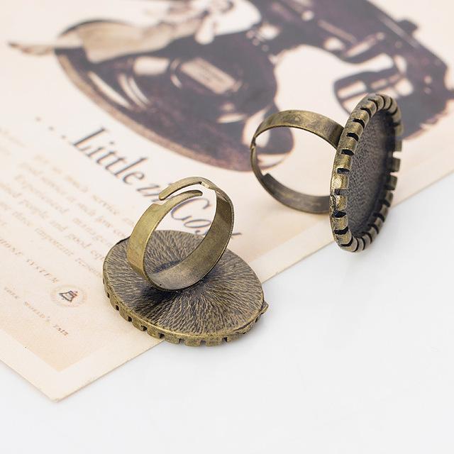 DIY饰品配件 戒指托 贴25*18MM内径 合金镀古青铜 13元10个