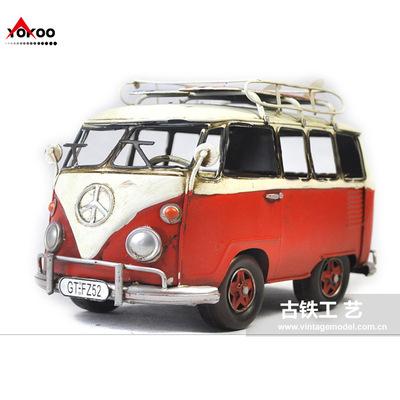 带滑板的大众巴士车模型,金属工艺品,仿古公交车模型