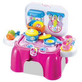 Children's play house kitchen set multi-function toy stool portable storage with sound effects