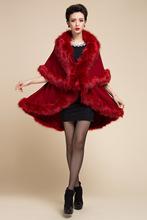 高端女裝超大人造狐貍毛領皮草披肩 歐美加厚毛衣針織斗篷