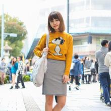 春秋新款女装纯羊绒针织衫套头圆领长袖卡通图案毛衣女外套打底衫