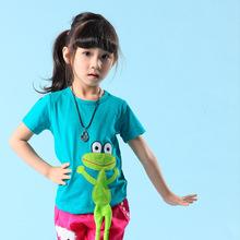 2017酷芘鱼童装批发 卡通动物园短袖T恤 休闲男童女童 外贸童装