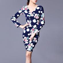 2018秋裝新款印花大小波點九分袖連衣裙OL女神新衣V領鉛筆裙