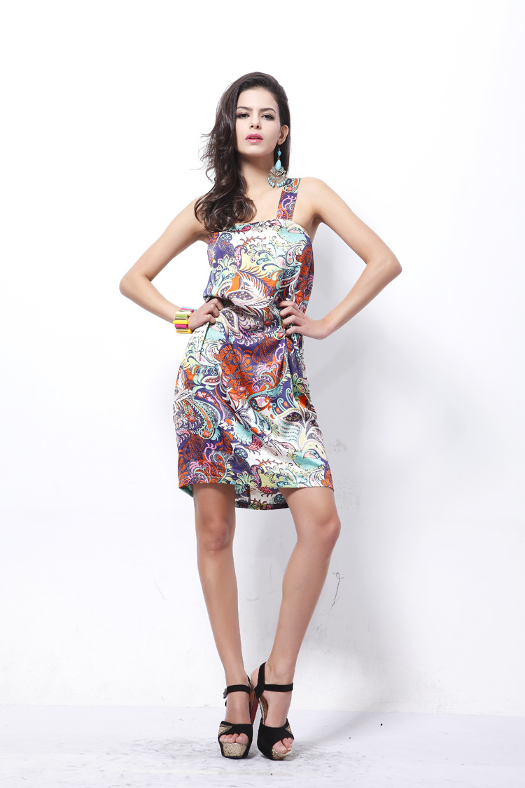hot-selling satin cashew print dress fashion suspenders sexy large size skirt NSDF816