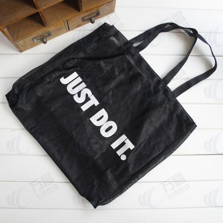 厂家定制 新款高档环保帆布袋批发 高品质精品拉绳帆布网布购物袋