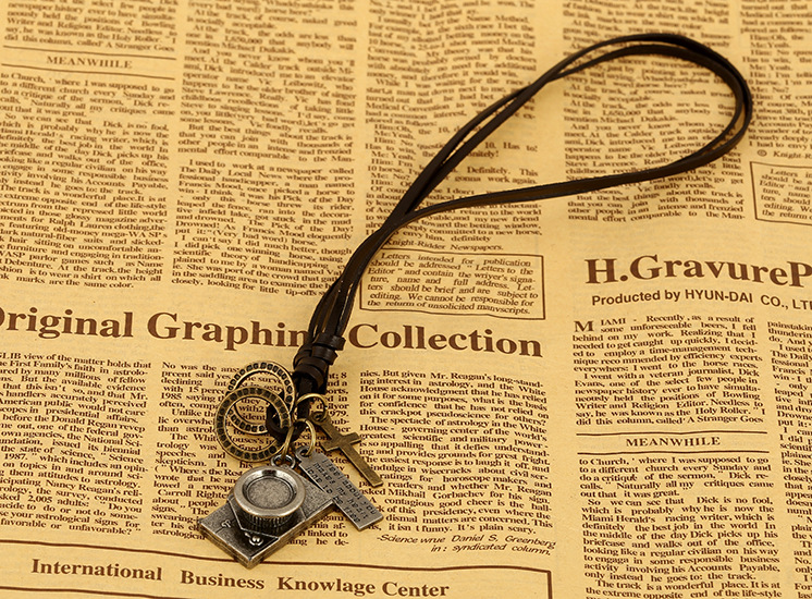 Vintage Camera Pendant Long Cowhide Necklace NHPK188596