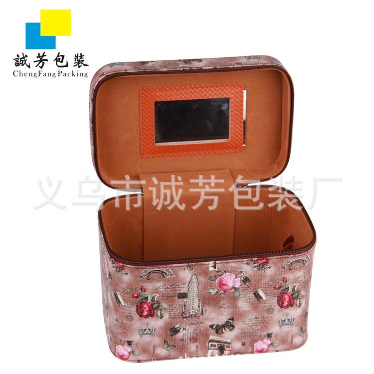 花纹PU手提化妆箱 饰品储物箱  收纳箱 PU珠宝首饰箱 套装箱