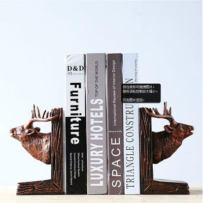 美法式乡村复古工艺品书靠宫廷雕刻鹿头树脂书挡 B大-FB29