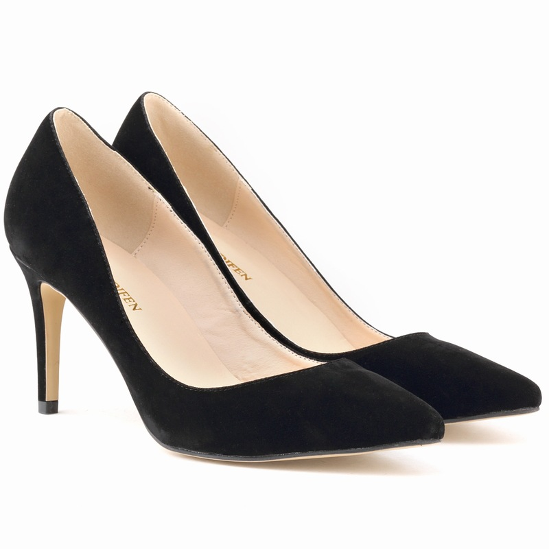 Details about Women Suede Point Toe Stiletto Low Heels Slip on Dress Work Slim Pumps Shoes