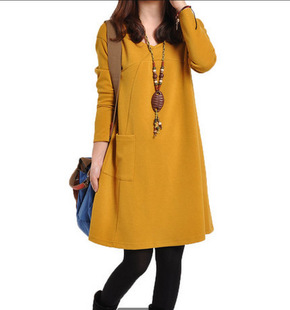 Amazon Korean women's plus size casual solid color V-neck loose long-sleeved bottoming dress