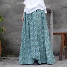 原創設計文藝范女式棉麻印花半身裙 秋新款松緊小碎花寬松半身裙