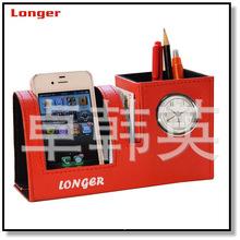 高檔商務禮品皮質筆筒    皮革筆筒鐘廠家直銷  LG-B042B