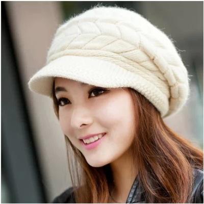 冬季帽子女韩版潮可爱针织帽兔毛线帽女秋冬加绒鸭舌中年人帽