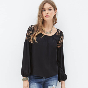Europe and the United States street loose bud silk joining together solid color round collar sleeves chiffon