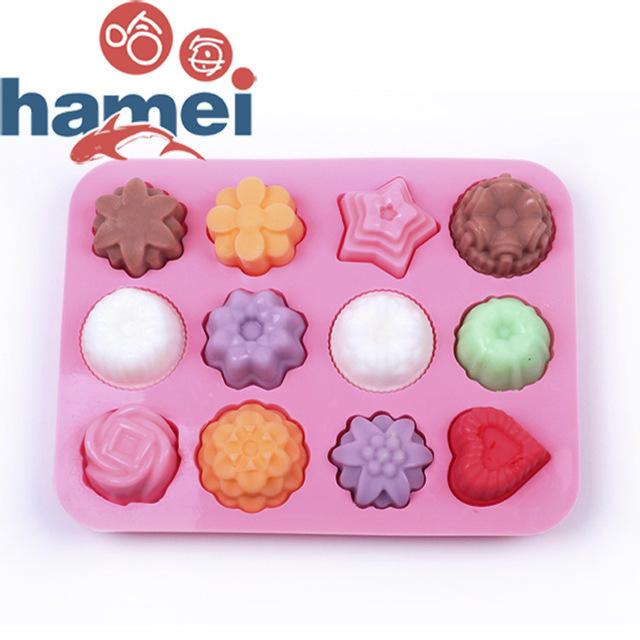 哈每 现货 硅胶 12孔花草硅胶蛋糕模 布丁果冻模 手工香皂模具