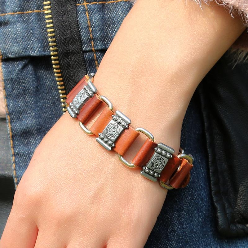 Leather Fashion Geometric bracelet  Brown main section models NHPK1768Brown main section models