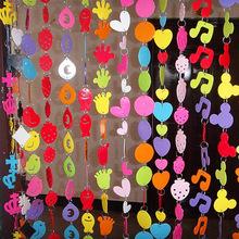 幼儿园装饰房间装饰墙壁门帘装饰 DIY卡通彩色塑料挂帘窗帘半成品