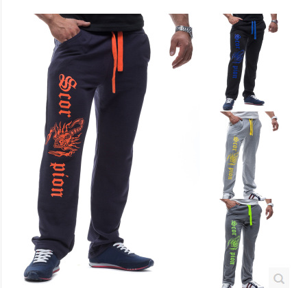 New foreign trade products in winter 2020 men's bright personality scorpion print leisure sports elastic pants 8717