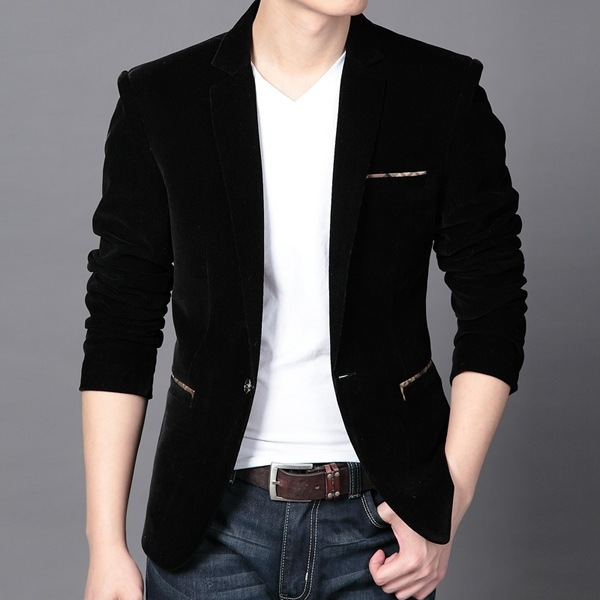 Wholesale-Men Casual Suit Jackets Mens Black Blazer Jacket ...