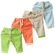 2014年新款夏裝潮韓版男童女童麻棉小童中褲寶寶短褲兒童褲子