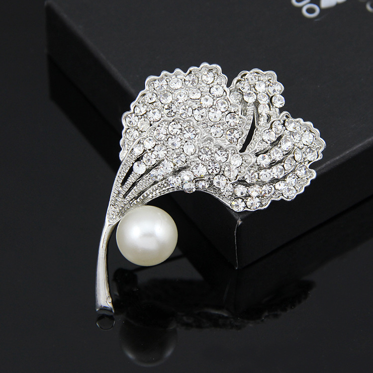 Korean version alloy plating brooch (White k Ad119-A)NHDR1854-White k Ad119-A