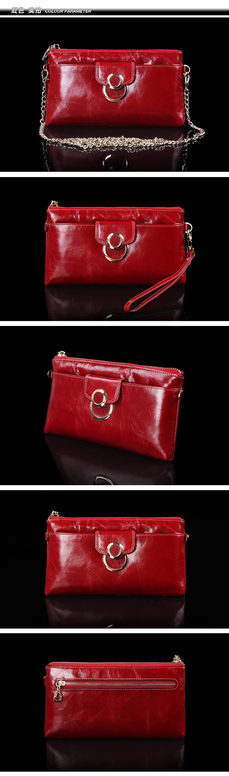 leather ladies wallet with chain