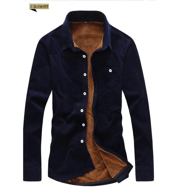 外贸特价韩版纯色十四色加厚加绒衬衣灯芯绒衬衫保暖修身大码