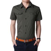 男装夏款新品短袖休闲衬衫韩版修身纯棉衬衣男士AFSjeep衬衫6620
