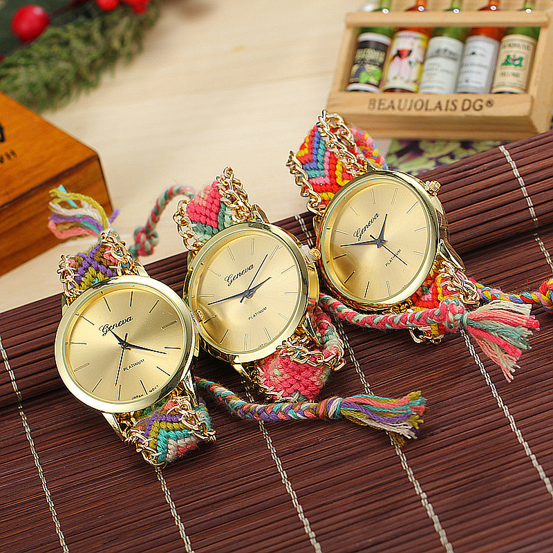 2017 Luxury Geneva Ladies Women Weave Watch Handmade ...