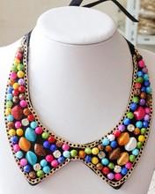 波西米亚韩版 钉珠彩色树脂水钻珍珠假领子批发 圆领 精致镶钻