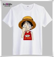 夏季 時尚休閑 圓領 純棉印花 男士 路飛短袖T恤 海賊卡通打底衫