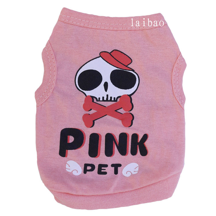 To Po pet supplies dog clothing cotton pink beauty skeleton pet vest wholesale spring/summer)