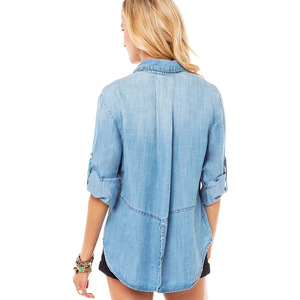 Pocket after adornment vented dovetail soft water loose long-sleeved cowboy shirt