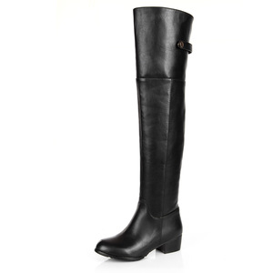 Long leather knee-high boots head layer cowhide side zippers Martin boots especially big size for women's shoes