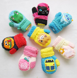 Children all point to noisy coral velvet gloves for boys and girls in winter to keep warm cartoon gloves