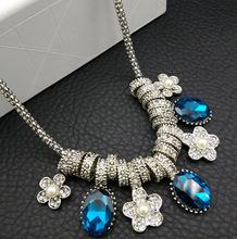 欧美时尚夸张锁骨链水晶宝石梅花女短款项链配饰女