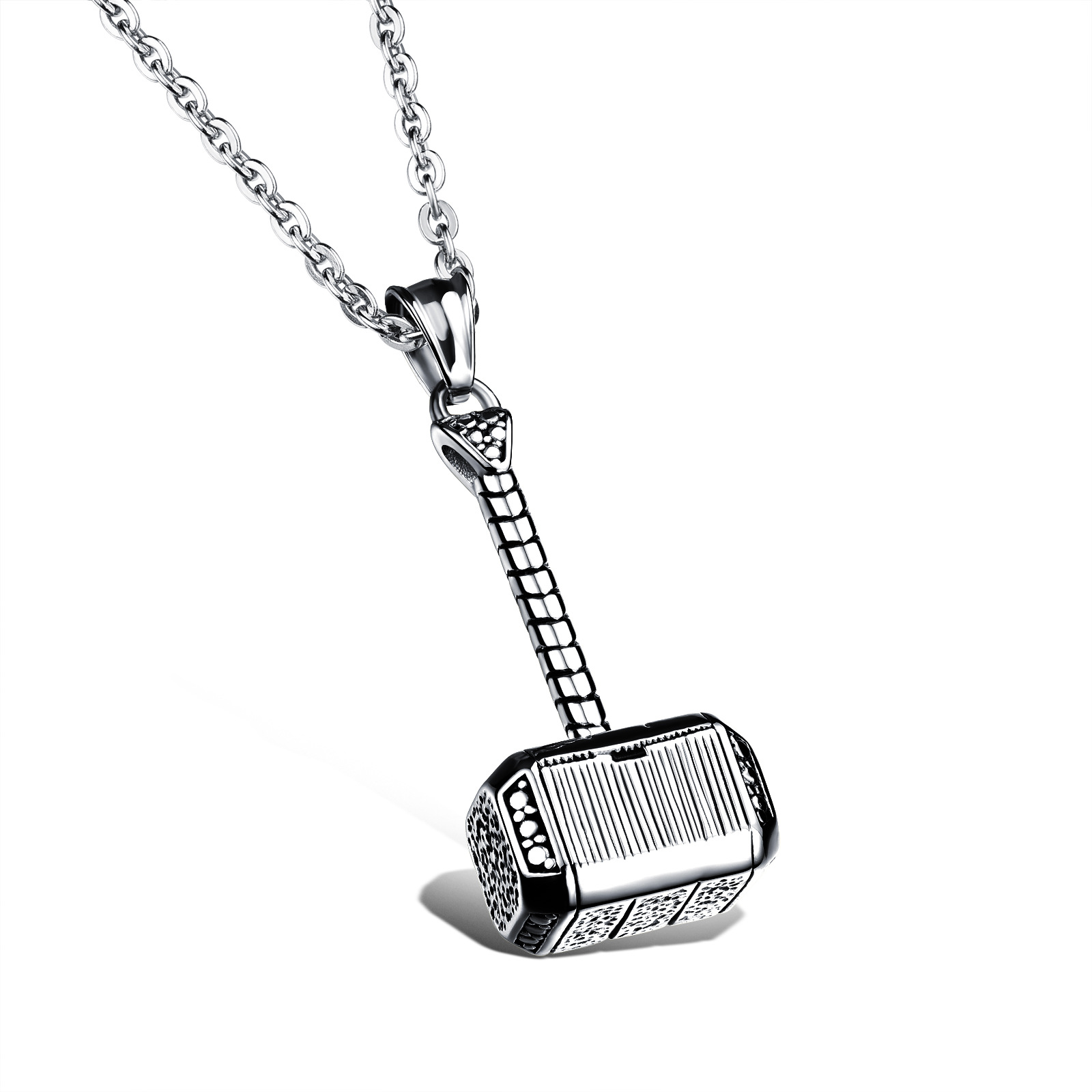 Details about Men Thor Hammer Charm Pendant Stainless Steel Fashion Lovers Chain  Necklace 8b8a23cc7992