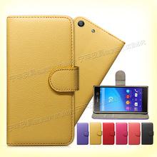 厂家直销SONY XPERIA M5保护套 左右开翻盖手机套 荔枝纹钱包皮套