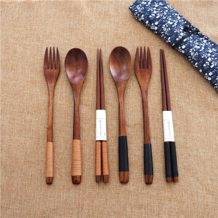 日式环保缠线勺叉筷子三件套 创意成人长柄木质椭圆餐具套装批发