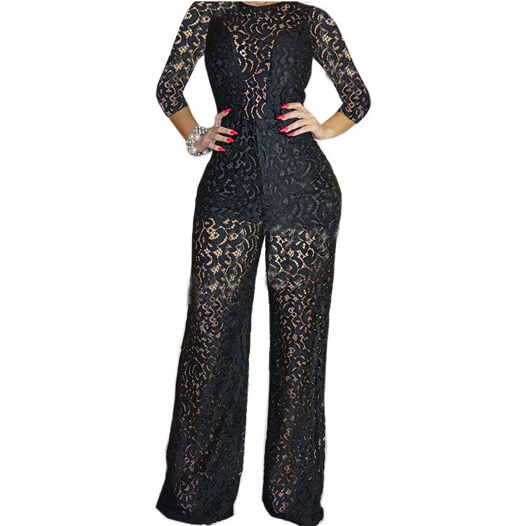 2019 Plus Size Women Clothing Jumpsuit Sexy Floral Lace Jumpsuit
