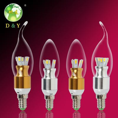 LED尖泡蜡烛灯 E27/e14节能灯拉尾球泡 三叶草3W5W7瓦3叉暖黄白
