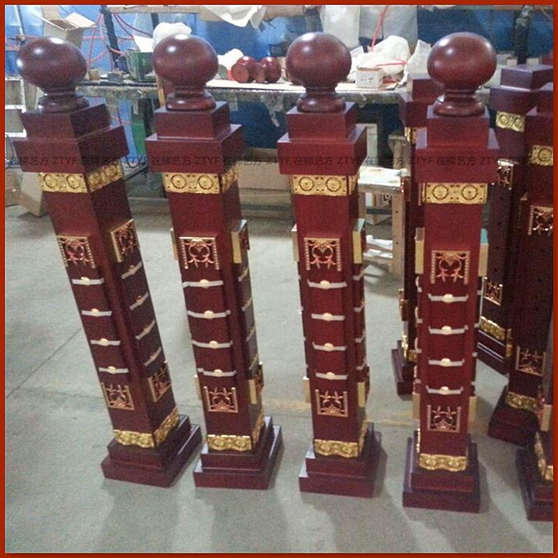 实木楼梯起步柱 将军柱罗马柱 开头柱 在梯艺方品牌 型号6001